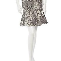 Yigal Azrouel Skirt  Size 4. Cream With Snakeskin Print and Leather Panel.  Photo
