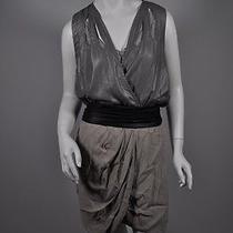 Yigal Azrouel Tan/black/silver Polyester Tank Mini Dress Sz2 Photo