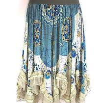 Yigal Azrouel Women Blue White Green Silk Boho Chic Romantic Peasant Skirt 2 Photo
