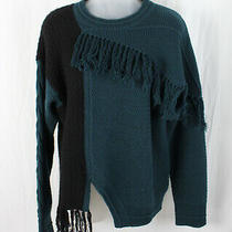 Yigal Azrouel Women's Teal Black Fringed Sweater Size S Photo
