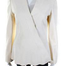 Yigal Azrouel Womens Asymmetrical Pleated Blazer Jacket Top Beige Size 8 Photo