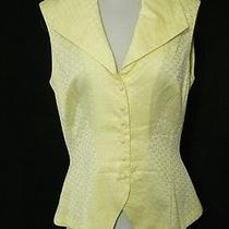 Yigal Azrouel Yellow & White Print Sleeveless Cotton Button Down Shirt Top 6 Photo