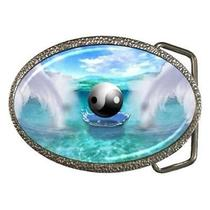 Yin Yang Fantasy Taoist Water Angel Wings Belt Buckle Photo