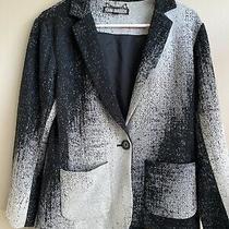 Yoana Baraschi Knit Blazer  Jacket Cotton  Black Gray Size 12 Anthropologie Photo