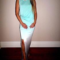 Yong Fabulous & Broke Aqua Blue Ombre Maxi Full Length Dress Euc Xs Photo