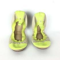 Yosi Samantha Leather Ballet Flat Shoes Fold Travel Green Yellow Beige Sz 7 Photo