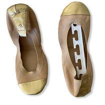 Yosi Samra 10 Nude Pink Gold Ballet Flats  Has Some Wear Photo