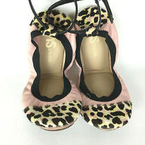 Yosi Samra Abbey Pink Leather Animal Print Ballet Flat Shoes Ankle Strap Sz 7 Photo