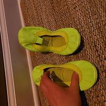 Yosi Samra Fold Up Elastic Ballet Flat Neon Green Leather Size 6 Photo
