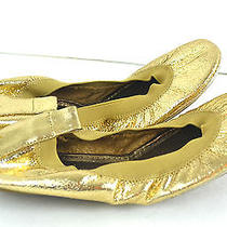 Yosi Samra Gold Genuine Leather Ballet Shoes Size 5 Fold- Up Photo