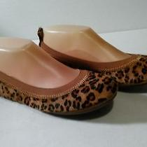 Yosi Samra Leopard Calf Hair Leather Fold Up 8 Ballet Flat  Photo
