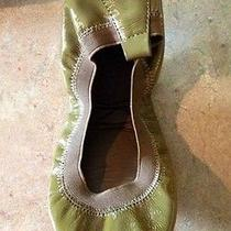 Yosi Samra Patent Leather Ballet Flats Size 7 Olive Green Brand New in Box Photo