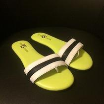 Yosi Samra Remi Leather Slide Sandal Size 7 White / Black / Green Photo