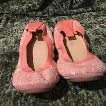 Yosi Samra Sammie Coral Pink Beige Lace Leather Slip on Flats Shoes Girls 4 Photo