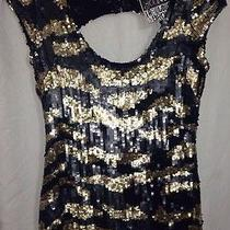 Young Fabulous & Broke. Black/gold Sequin Top.. W Deep Scoop Back.. Size S. New Photo