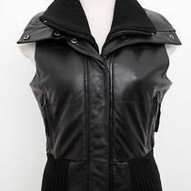 Young Fabulous & Broke Black Leather Ribbed Knit Wool Vest Top Jacket Blouse Xs Photo
