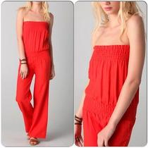 Young Fabulous Broke Linen Jumpsuit Size Small Bright Orange Photo
