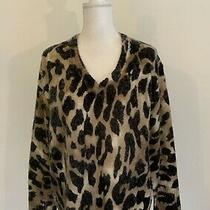 Young Fabulous & Broke Sz M/l Leopard Oversized  v-Neck Knit Pullover Sweater  Photo