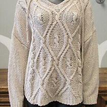 Young Fabulous & Broken Tan Soft Cable Knit Hooded Cinch Waist Tie Sweater M/l  Photo