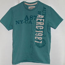 Young  Mens  Aeropostale  T-Shirt  Turquoise  With  Patch  Letters  Size  Small Photo
