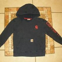 Youth Boys Carhartt Navy Blue Pullover Sweatshirt Hoodie Jacket Small 8-10 Photo