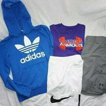 Youth Boys Lot (4) Under Armour Adidas & Nike Shorts Shirts & Hoodie Kids Sz L Photo