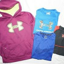 Youth Boys Lot (4) Under Armour & Nike Shirts & Hoodie Kids Sz L Photo