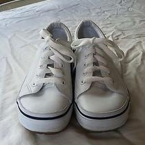 Youth Classic White Keds With Trendy Gum Sole Size 5 Photo