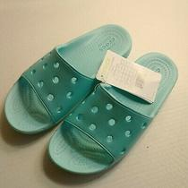 Youth Crocs Slides Sandal Blue Water Sand Beach Flip Flop Swim Unisex Size 2 New Photo