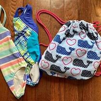 Youth Girls Size 7/8 One Piece Gap /speedo Swimsuits & Backpack Beach Towel Lot  Photo