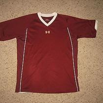 Youth Maroon Under Armour Heat Gear v-Shirt Sz Ylg Photo