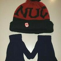 Youth One Size Canada Red Black Knit Hat Hudsons Bay Co Blue Stretch Gloves Kids Photo