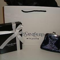 Ysl 300 Yves Saint Laurent Rive Gauche Blue Leather Wallet Coin Purse Pouch Bag Photo