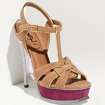 Ysl  9.5 / 39.5 Yves Saint Laurent Tribute Wheat/ Burgundy Platform Sandal Shoes Photo