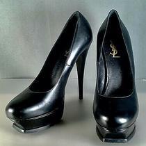 Ysl Black Luxury Leather Pumps Tribute High Heels Women's Shoes Eu 40.5 Us 9.5 Photo