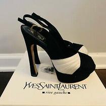 Ysl Black/white Slingback Platform Suede/leather Peep Toe Sandal Size 38.5 Photo