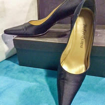 Ysl-Classic Black Satin Pumps With Lacquer Kitten(2 3/4
