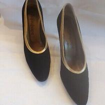 Ysl Fabric and Gold Leather Classic Pumps Yves Saint Laurent   Size 8.5 M Photo
