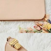 Ysl Pastel Pink Leather Wallet Vintage Clutch With Gold Buckle Photo