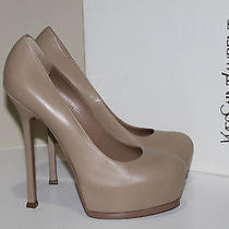 Ysl Sz 8.5 38.5 Yves Saint Laurent Tribtoo Nude Beige Leather Platform Pump Shoe Photo