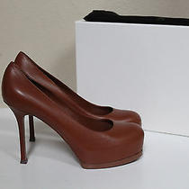 Ysl Sz 9 / 39 Yves Saint Laurent Tribtoo Cognac Brown Leather Platform Pump Shoe Photo