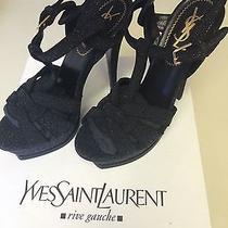 Ysl Tribute 105 High Heel Sandals 5 35 Black Suede Quartz Galaxy 1095 Photo