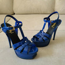 Ysl Tribute Yves Saint Laurent Blue Patent Leather Sandal Heels 36 Photo