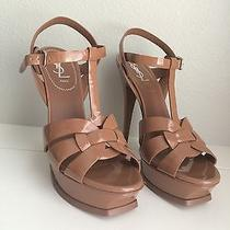 Ysl Yves Saint Laurent 100% Authentic Tribute Sandals Nude Beige 39  Photo