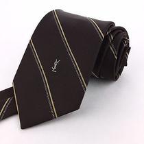 Ysl Yves Saint Laurent 54 Short Skinny Brown Beige & White Striped Silk Neck Tie Photo