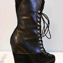 Ysl Yves Saint Laurent Ariane 90 Black Fur Shearling Wedge Boots 40 10 1695 Photo