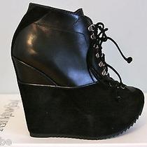 Ysl Yves Saint Laurent Ariane 90 Black Wedge Ankle Boots Booties 40 10 1245 Photo