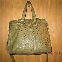 Ysl Yves Saint  Laurent  Authentic Green Ostritch  Leather Tote Handbag Photo