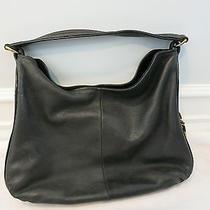 Ysl Yves Saint Laurent Black Leather Hobo Bag W/gold Zipper Detail  Photo