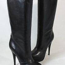 Ysl Yves Saint Laurent Black Leather Platform Boots Heels Shoes 40 Photo
